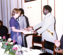 Mrs Gatrad being presented with a gift from the Mayor of Blantyre Malawi (1978) – for her contribution to Mlambe hospital Lunzu Malawi