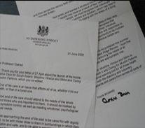 Letters from Gordon Brown congratulating Prof Gatrad on the publication of his 2 books